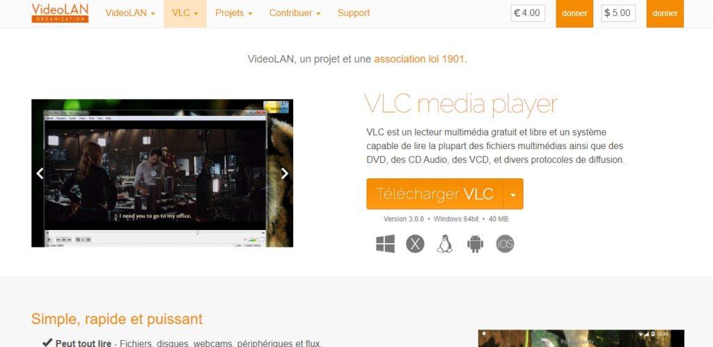 Site officiel pour télécharger VLC pour réaliser un screencast avec VLC